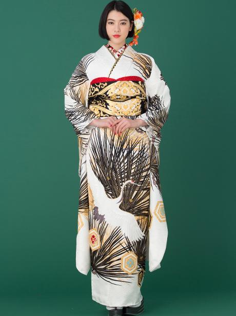 白地に鶴と松と亀甲の振袖