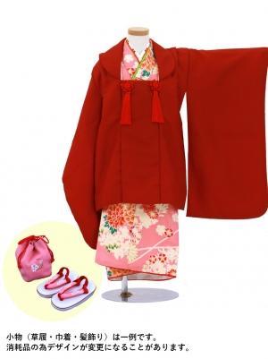 ピンクに牡丹と萩の着物、赤の被布コート(七五三)