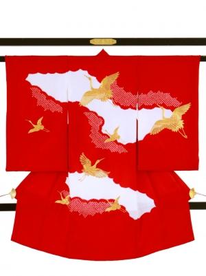 赤地に疋田、鶴の祝い着/女児
