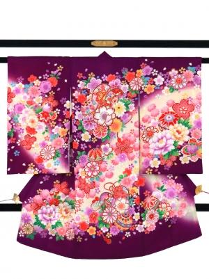 紫地に鞠と鼓の祝い着/女児
