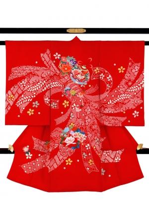 赤地に疋田の熨斗と鈴の祝い着/女児