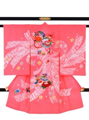 ピンク地に疋田の熨斗と鈴の祝い着/女児