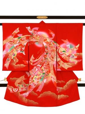 赤地に束ね熨斗と雲取りの祝い着/女児
