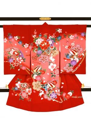 赤地に花車とうさぎの祝い着/女児