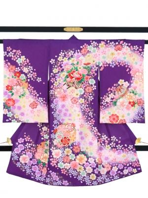 紫地に花車と鞠と雪輪の祝い着/女児