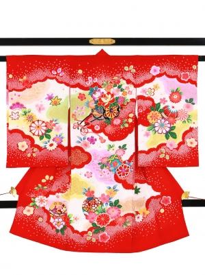 赤地に花車と疋田の雲取りの祝い着/女児