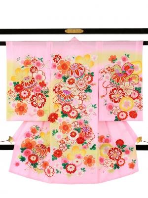 ピンク地に鞠と菊、桜の祝い着/女児