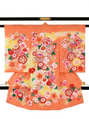 オレンジ地に鞠と菊、桜の祝い着/女児