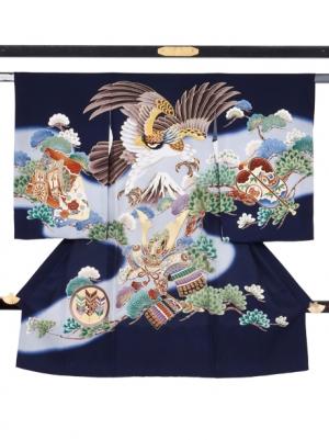 紺地に鷹と富士山に松の祝い着(紺無地)/男児