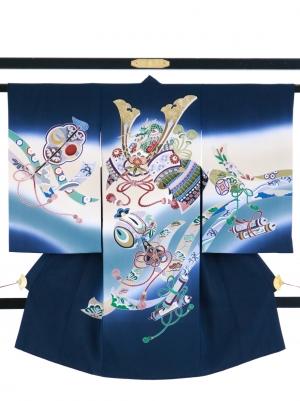 紺地に兜や熨斗の祝い着/男児