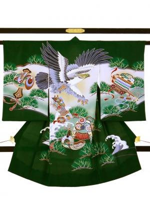 深緑地に鷹と松の祝い着/男児
