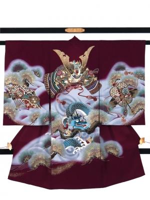 紫檀(したん)色地に兜と龍の祝い着/男児