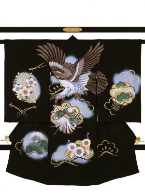 黒地に鷹と松・梅の祝い着/男児*