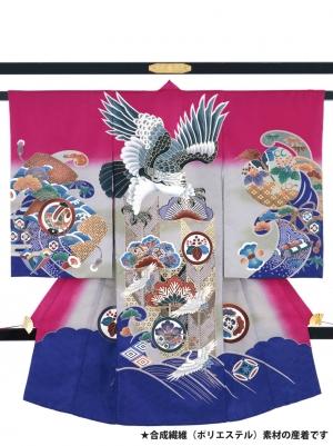 紅紫色に鷹と打ち出の小槌の祝い着(ポリエステル)