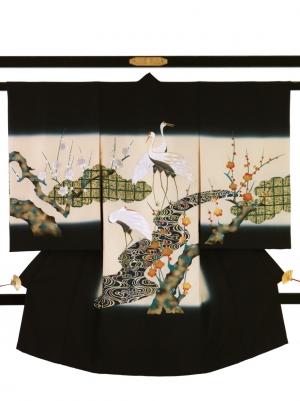 黒地に鶴と槍梅の祝い着/男児