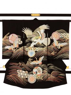 黒地に鷹と鶴、波の祝い着/男児