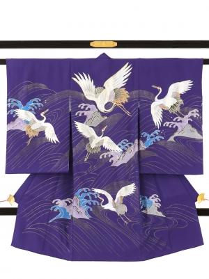 紫地に鶴と波の祝い着/男児