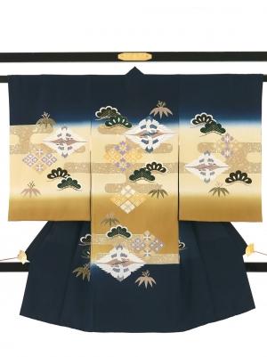 紺色地に向かい鶴菱に松の祝い着/男児