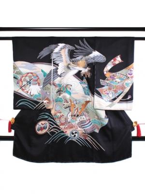墨地に鷹と兜の祝い着(黒地紋)/男児
