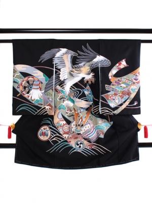 墨地に鷹と兜の祝い着(黒無地)/男児
