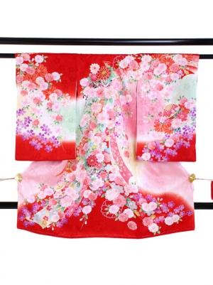 赤地に熨斗と桜の祝い着/女児