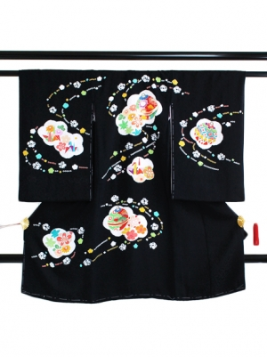 黒地に鈴と折り鶴の祝い着/女児