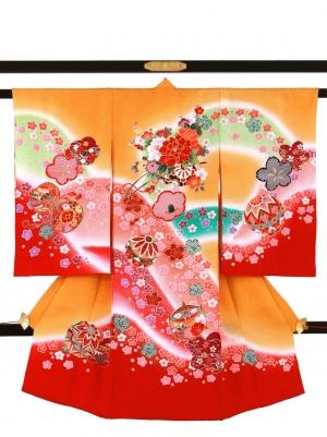 金茶色に桜と山取りの祝い着/女児
