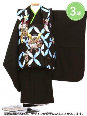 黒に七宝と兜の被布コートセット(七五三)