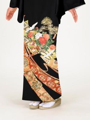 鶴に短冊と熨斗の留袖