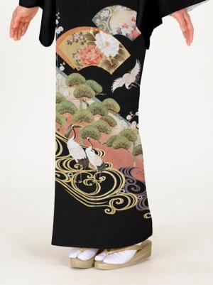 鶴に地紙の留袖