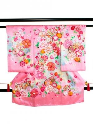 【お宮参り・産着レンタル5点フルセット】 ピンク地に鼓と鞠に牡丹の祝い着/女児