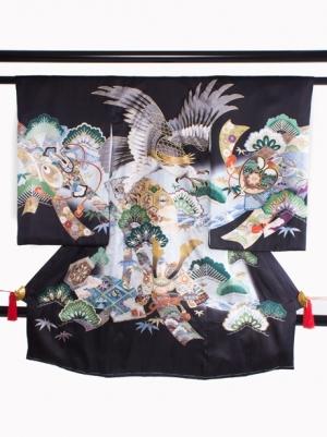 黒地に鷹と熨斗の祝い着/男児