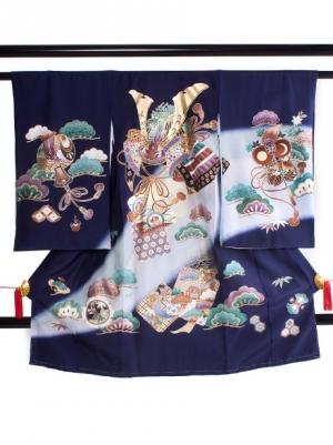 【お宮参り・産着レンタル5点フルセット】 紺地に兜と軍配に打出の小槌の祝い着/男児