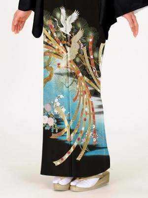鶴に松と束ね熨斗の留袖