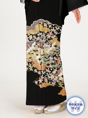雲取りに鶴と宝尽くしの留袖/ワイドサイズ