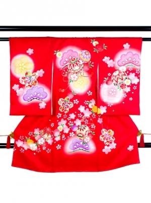 【お宮参り・産着レンタル5点フルセット】 赤地に鞠と松に桜の祝い着/女児
