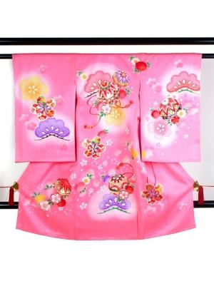 【お宮参り・産着レンタル5点フルセット】 ピンク地に鞠と松に桜の祝い着/女児