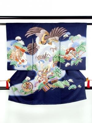 【お宮参り・産着レンタル5点フルセット】 紺地に鷹と富士山に松の祝い着/男児