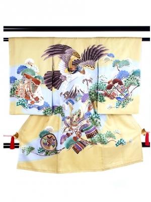 【お宮参り・産着レンタル5点フルセット】 黄土色地に鷹と富士山に松の祝い着/男児
