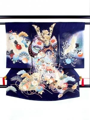 紺地に兜と糸菊に鶴の祝い着/男児