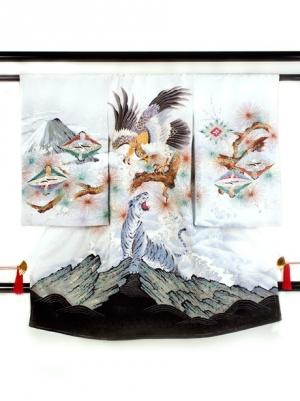 白地に鷹と白虎(びゃっこ)の祝い着/男児