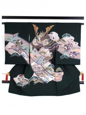 翠色(すいしょく)に兜と巻物の祝い着/男児