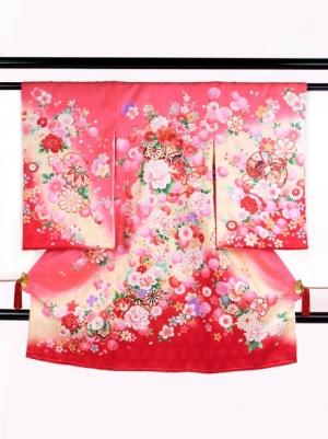 ピンク地に花車と鼓の祝い着/女児