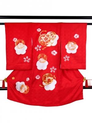 赤地に桜と鞠、絞り染めの祝い着/女児