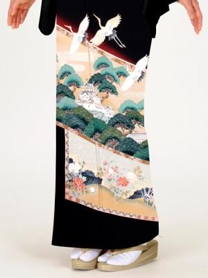 屏風絵に松と鶴の留袖