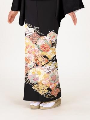 牡丹に四季花と鶴の留袖