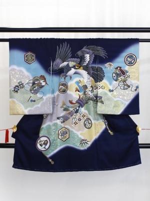 【お宮参り・産着レンタル5点フルセット】 紺地に鷹と熨斗の祝い着/男児