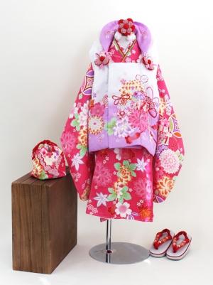 ピンク色に檜扇と花の被布コートセット